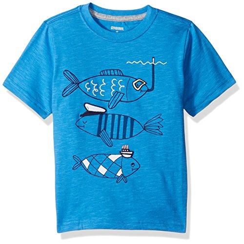 Gymboree Toddler Boys' Short Sleeve Animal Graphic Tee, Ocean Blue Fish, 5T