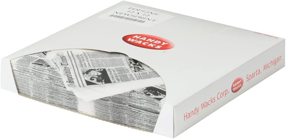 Handy Wacks FDP12NE-X, 12x12-Inch White Flat Deli Paper with Newsprint, Disposable Take Out Catering Wrap Paper Sheets, 1000-Piece Pack