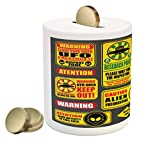 Lunarable Outer Space Piggy Bank, Warning Ufo Signs with Alien Faces Heads Galactic Theme Paranormal Activity Design, Printed Ceramic Coin Bank Money Box for Cash Saving, Yellow