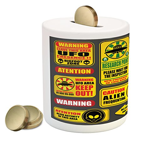 Lunarable Outer Space Piggy Bank, Warning Ufo Signs with Alien Faces Heads Galactic Theme Paranormal Activity Design, Printed Ceramic Coin Bank Money Box for Cash Saving, Yellow by Lunarable