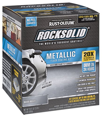 Rust-Oleum 286983 Metallic Floor Coating Kit-Silver Bullet - Pearlescent Material