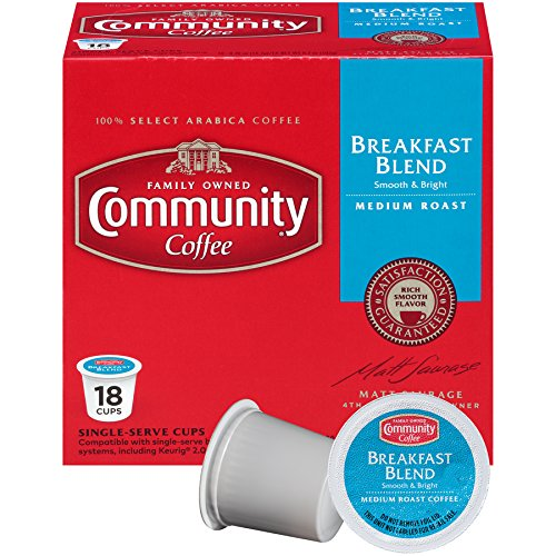 Community Coffee Breakfast Blend Medium Roast Single Serve, 18 Ct Box, Compatible with Keurig 2.0 K Cup Brewers, Full Body Bold Taste, 100% Arabica Coffee Beans -