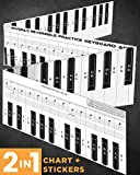 #4: Piano Practice Keyboard Chart + Piano Stickers For White & Black Keys By Ohvera | Complete training Kit for 49 / 61 / 76 /88 Keyboards | Apply and Remove Easily