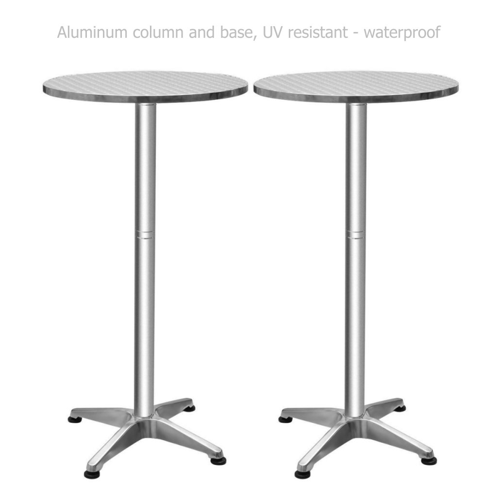 Folding Aluminium Bar Table Height Adjustable Commercial Residential Waterproof UV Resistant Home office Kitchen Indoor Outdoor Furniture - Set of 2 #1382a