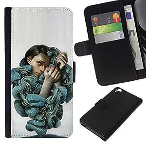 EJOY---La carpeta del tirón la caja de cuero de alta calidad de la PU Caso protector / HTC Desire 820 / --Volantes Blusa Mujer Moda Retrato Arte