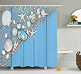 Fishing Net Shower Curtain Ambesonne Tropical Shower Curtain by, Seashells on a Fishing Net Wooden Blue Background Pearls Scallop Starfish Aquatic, Fabric Bathroom Decor Set with Hooks, 70 Inches, Blue White