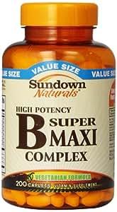 Sundown Naturals B Complex, Super Maxi, 200 Caplets