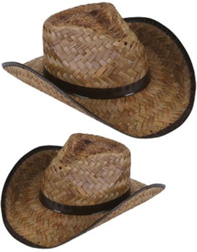 New Men's Women's Stained Brown Woven Straw Cowboy Hat ()