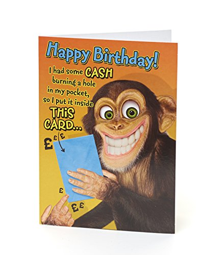 Giggles Chimp Cash Burning a Hole New Humour Card ()