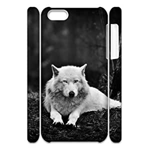 Cell phone 3D Bumper Plastic Case Of Gray Wolf For iPhone 5C