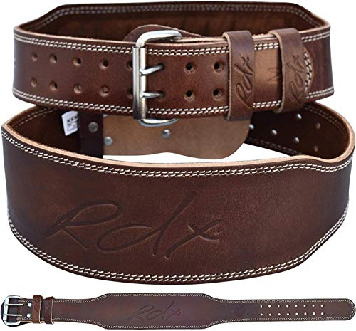 RDX Weight Lifting Belt Cow Hide Leather Gym 4 Training Back Support Fitness Exercise Bodybuilding, L 32-36 (Waist Size not Pant Size), Brown