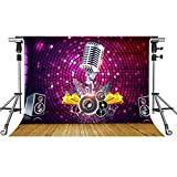 MEETS 10x7ft Karaoke Photography Backdrop Wood Floor Microphone Sound Background Themed Party Photo Booth YouTube Backdrop HUIMT196