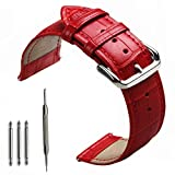 omega 20mm bracelet - 24mm Width leather Watch Bands, Leather Replacement Wrist Band Bracelet Strap for Suunto Core Watch, Suunto TRAVERSE and other watches with 24mm lug Smartwatch by OTOPO (24mm, Leather Red)