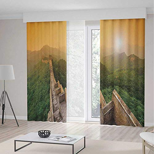 YOLIYANA Decor Collection,Great Wall of China for Bedroom Living Dining Room Kids Youth Room,Famous Place in Jinshanling Rocky Fences Dreamy Surreal Image,2 Panel Set 103W X 108L ()
