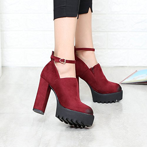 KHSKX-All-Match Word Buckle Elastic Wine Red Short Thick Soled Shoes Leisure With Coarse High-Heeled Shoes Deep Round Thirty-six