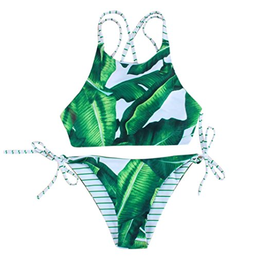 Price comparison product image Hot Sale!!ZYooh Sexy Push-up Bikini, Two Piece Stripe Bandage Bathing Swimsuit Printing Lotus Leaves Swimwear for Women Girl (L)