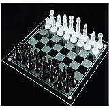 XSWZAQ Cristales 32 Piezas Juego de Tablero de Vidrio de ajedrez Tradicional Grande Hermoso Juego diversión de Fiesta…