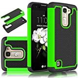 LG K7 Case,LG Tribute 5 Case,Kmall Hybrid Heavy Duty Impact Resistant Shock-Absorption Dual Layer Full-Body Shockproof Rugged Protective Skin Cover Shell Bumper For LG K7 Tribute 5 [Black/Green]