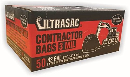 UltraSac Contractor Bags Value 50 Pack, 42 Gallon, 2'9