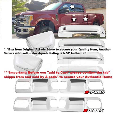 A-PADS Chrome Cover for 2017-2018 Ford F250 F350 F450 Top Half Mirror Cover + 4 Door Handles Without Smart Keyhole + Back Plate