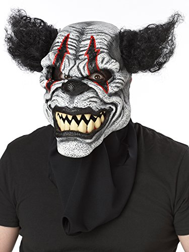 Halloween Costumes Scary Clown Mask (California Costumes Men's Ani-Motion Masks - Last Laugh The Clown Ani-Motion Mask, Black/Red, One Size)