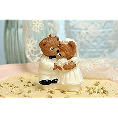 RedC Lovely Teddy Bear Couple Wedding Candles/Bithday, Weeding, Theme Party Decorations
