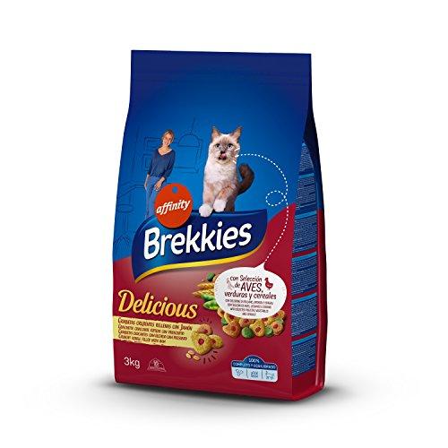 Brekkies Pienso para Gatos Delicious con una Selección de Aves y Verduras – 3000 gr