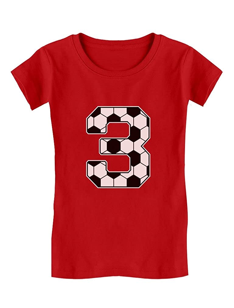 3rd Birthday Gift 3 Year Old Soccer Fan Toddler/Kids Girls' Fitted T-Shirt GZhPtragw5