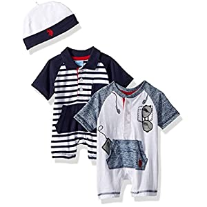 U.S. Polo Assn. Baby Boys Romper, Sunglasses in The Packet Navy, 3-6 Months