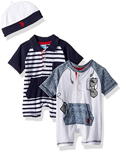 U.S. Polo Assn. Baby Boys Romper, Sunglasses in The Packet Navy, 3-6 ()
