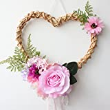 Love Pattern Spring Wreath Handmade Pink Rose Wreath Artificial Floral for Front Indoor Decor