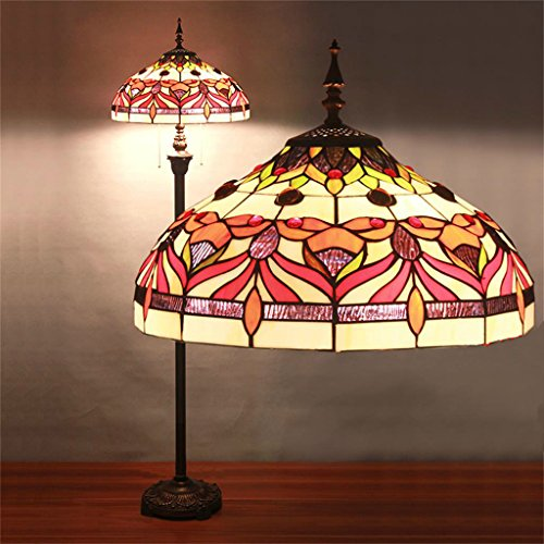 16 Inch Tiffany Floor Lamp Living Room Bedroom Study Lamp European Creative Pastoral Retro Maple Color Art Lighting
