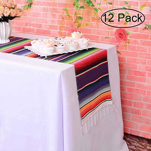 LGHome Mexican Blanket Serape Table Runner Colorful Striped Fringe Cotton Table Runner for Mexican Birthday Party Wedding Holiday Decorations Pack of 12-14x84 -