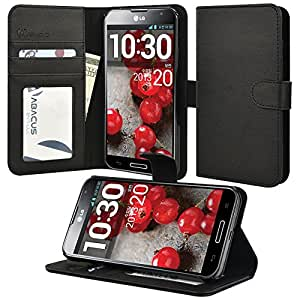 LG Optimus G Pro Case, Abacus24-7 Leather Wallet Case with Stand, Black