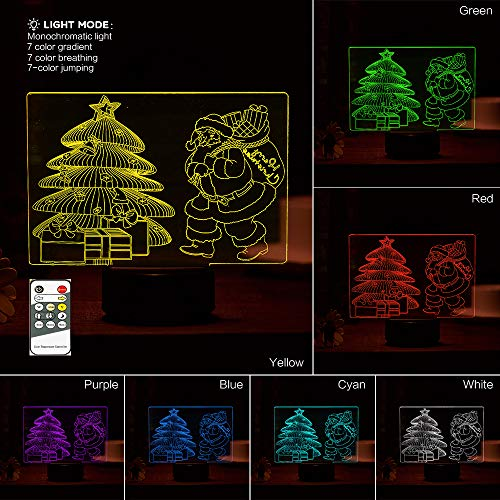 3D Night Light Visual Santa Claus 3D,Christmas Tree Night Light with Remote Control Base 7 Colors Changing Beside Table Desk Deco Lamp Bedroom Nightlight Toy Gift Idea ... (Santa's Best Christmas Tree Remote Control)