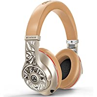 Over-Ear Bluetooth Headphones, Aladdinaudio Acura Pro Stereo Wireless DJ Headphones Professional Hi-fi Headset Heavy Bass CSR 4.2 NFC DJ Studio with Microphone and Wired Mode (Gold)
