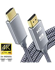 Cable HDMI 4K 2 Metros, 2.0 Cable HDMI de Alta Velocidad soporta 4K Ultra HD, Ethernet,3D,2160P, 1080P,BLU-Ray,Xbox 360 TV, Playstation PS3,PS4, HDTV,Arco,HDCP 2.2,HDR
