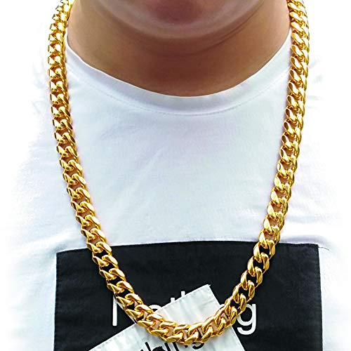 1a97f09fa2c4f TUOKAY 18K Heavy Big Gold Chain Necklace,16mm 30 Inch Long Big Fake Gold  Rapper Chain, Shinny 90s Punk Style Hip Hop Chain Necklace for School  Rapper ...