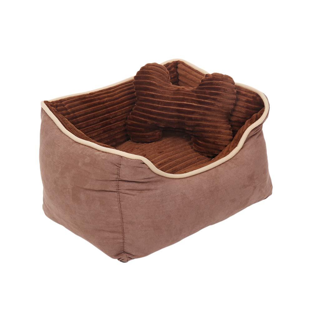 Brown SmallPet nido Corduroy PP cotone Mattress adatto per cani, gatti, ecc. Quattro stagioni disponibili Pet nido (colore: BROWN, Dimensione: S)