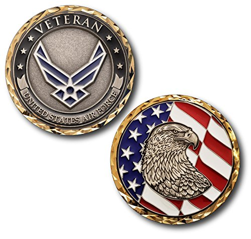 USAF U.S. Air Force Veteran Challenge Coin by Armed Forces Depot (Image #1)