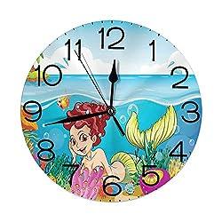 GULTMEE Silent Wall Clock Non Ticking 10 inch Quartz Round Decorative, Illustration of a Smiling Mermaid Under The Sea Garden Palm Tree Island Art