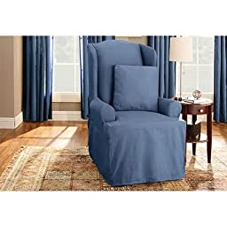 Sure Fit Duck Solid - Wing Chair Slipcover  - Bluestone (SF33064)