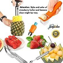 Magicdo Stainless Steel Fruit Cutter Set, Fruit Slicer Kit - Watermelon Slicer, Melon Baller/Scoop, Strawberry Huller, Pineapple corer, Banana Slicer Chopper(5-Pack)