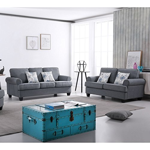 Container Furniture Direct S5340-S+L Victor Sofa and Loveseat, Grey ()