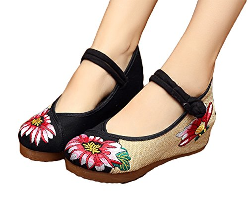 AvaCostume Multicolor Embroidery Wedges Sandals