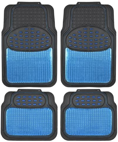 BDK Metallic Rubber Floor Mats for Car SUV & Truck – Semi Trimmable, 2 Tone Color Heavy Duty Protection(Blue/Black)
