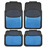 Scion tC All-Weather Mats - BDK Metallic Rubber Floor Mats for Car SUV & Truck - Semi Trimmable, 2 Tone Color Heavy Duty Protection (Blue/Black)