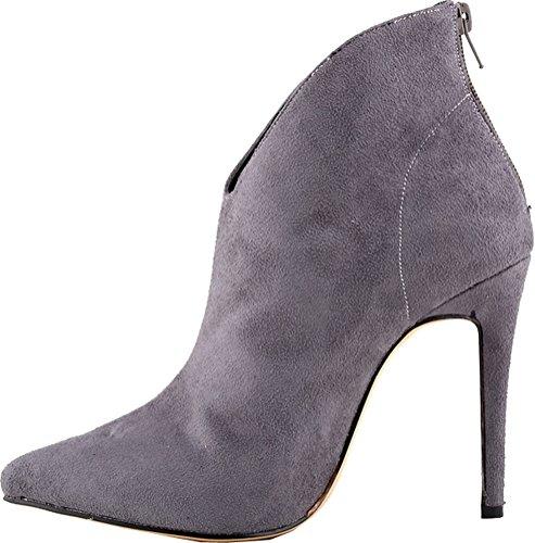 Abby 769-1 Femmes Bottines Zip Stiletto Talon Bout Pointu Pu Automne Hiver Travail De Mariage Partie Chaussures De Bal Gris