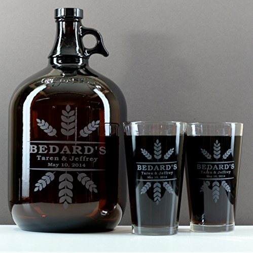 personalized-engraved-newlywed-growler-pint-set-with-wheat-crowns-artset-of-2-glasses-and-1-growler