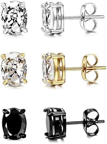 ORAZIO 3 Pairs Stainless Steel Women Oval CZ Stud Earrings for Men Ear Piercing